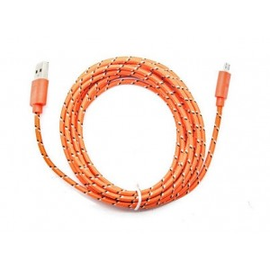 NYLON USB Lightning kabel pro Apple iPhone 5, oranžový