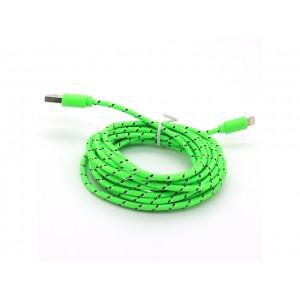 NYLON USB Lightning kabel pro Apple iPhone 5, zelený