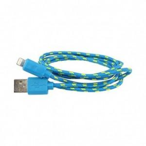 NYLON USB Lightning kabel pro Apple iPhone 5, modrý